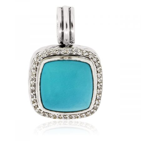 David Yurman Diamond and Turquoise Sterling Silver Pendant