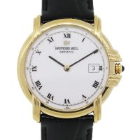 Raymond Weil 9155 Electroplated Yellow Gold White Roman Dial Watch