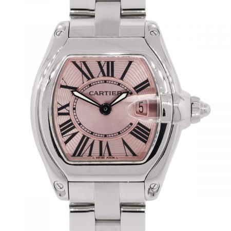Cartier 2675 Roadster Pink Dial Stainless Steel Ladies Watch