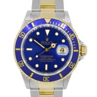 Rolex 16613 Submariner Date Two Tone Blue Dial Watch
