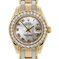 Rolex 69298 Tridor Pearlmaster Datejust MOP Diamond Dial Ladies Watch