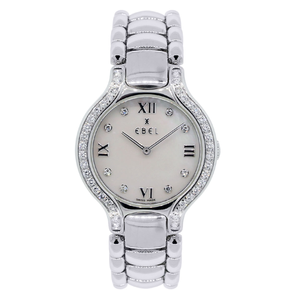 Ebel Beluga Mother of Pearl Roman Diamond Bezel and Dial Steel Watch
