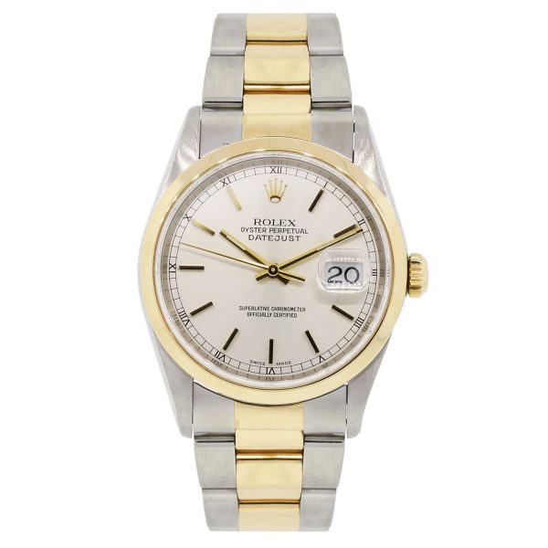 Rolex 16203 Datejust Two Tone White Dial Gents Watch