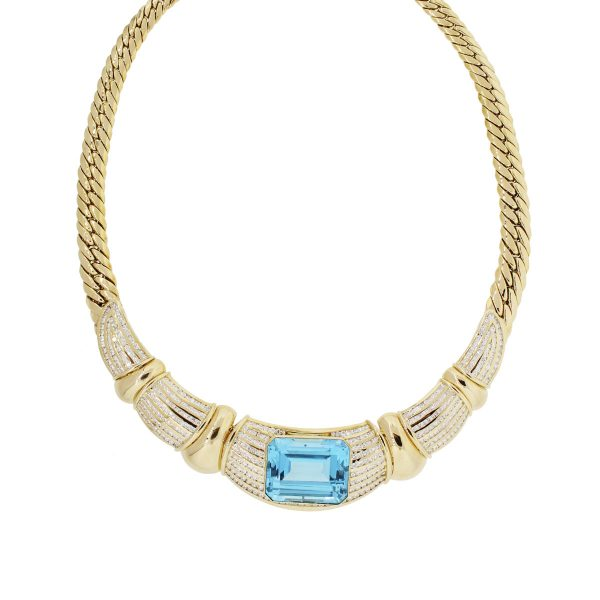 18k Yellow Gold 5.89ctw Diamond and Blue Topaz Necklace