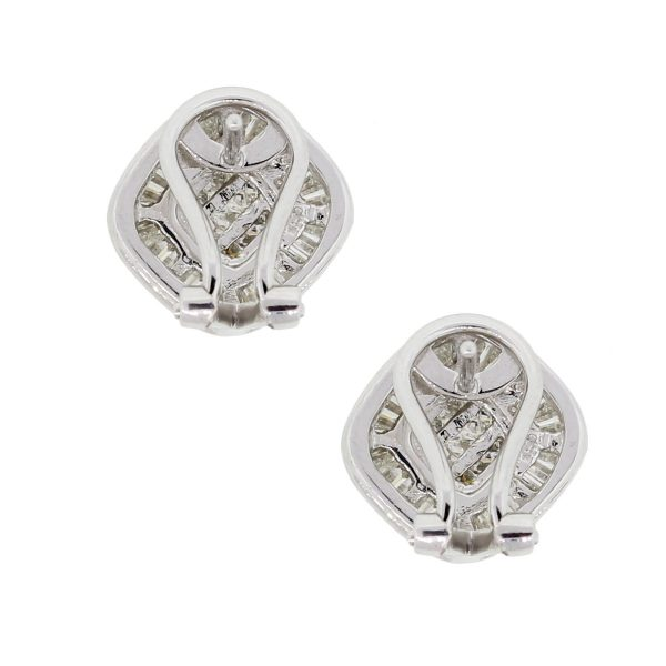18k White Gold 1.56ctw Diamond Button Earrings