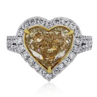 18k Two Tone 4.01ct GIA Heart Shape Diamond Ring