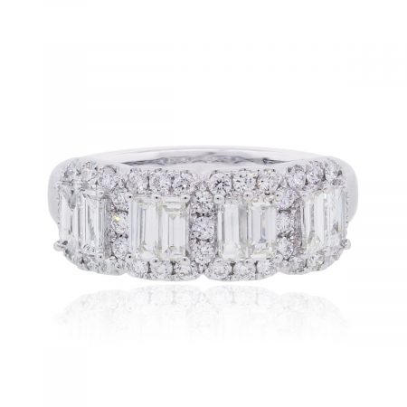 18k White Gold 1.45ctw Baguette and Round Brilliant Diamond Band
