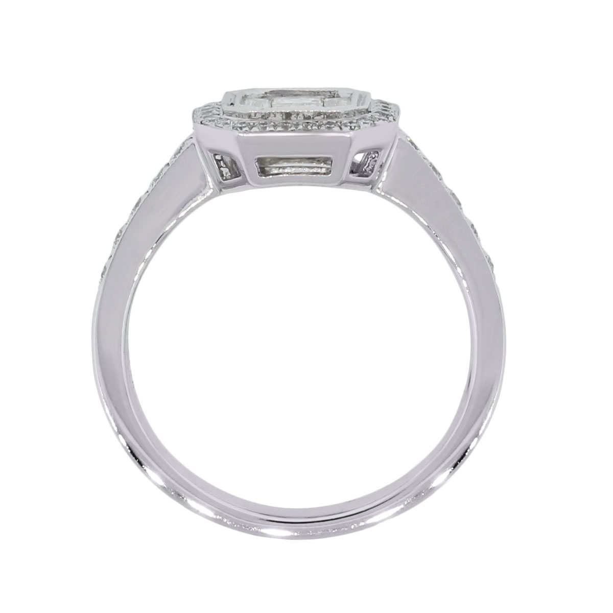 18k White Gold .80ctw of Baguette and Round Brilliant Diamond Ring