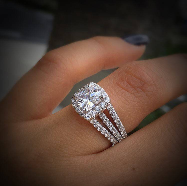 Rose Gold Square Cut Diamond Engagement Ring