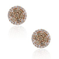 14k Rose Gold Warm Champagne Diamond Stud Earrings