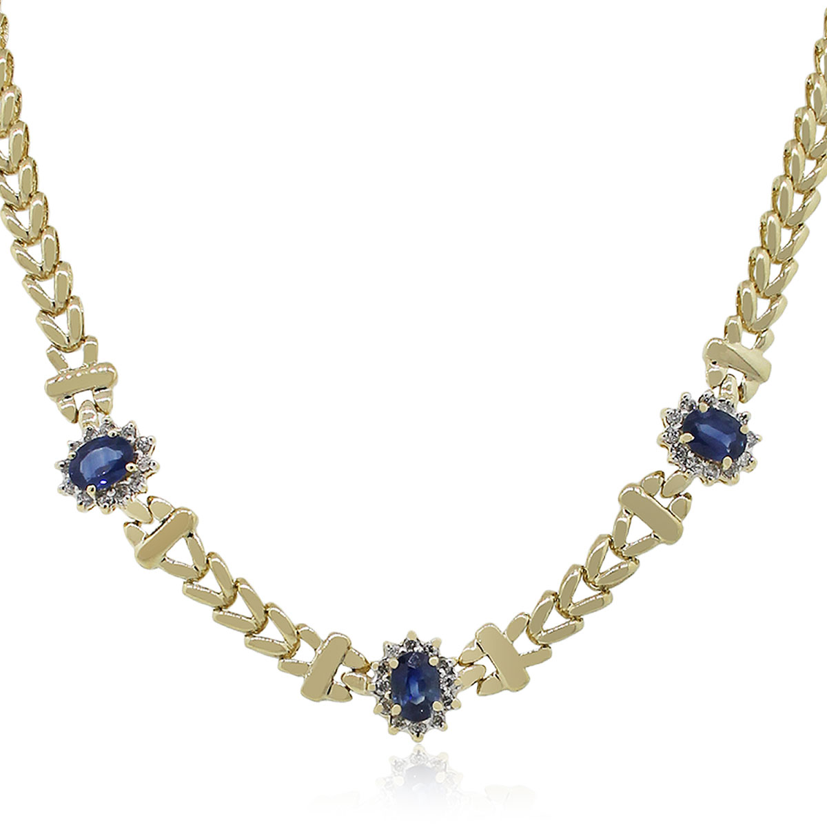 14k Yellow Gold 0 72ctw Diamond Oval Sapphire Necklace