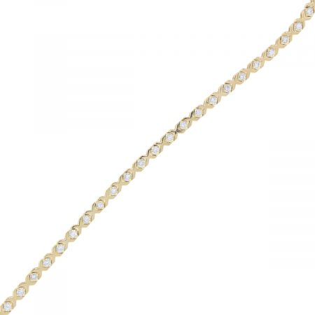 14k Yellow Gold 0.50ctw Diamond X Tennis Bracelet