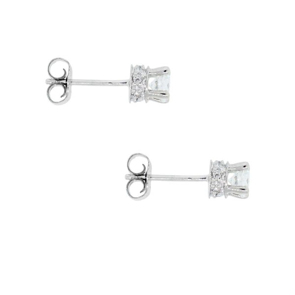 14k White Gold 0.72ctw Diamond Stud Earrings