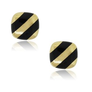 18k Yellow Gold With Black Enamel Square Cufflinks