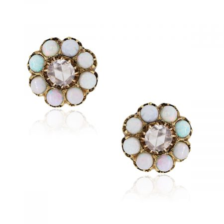 14k Yellow Gold 1ctw Diamond and Opal Earrings