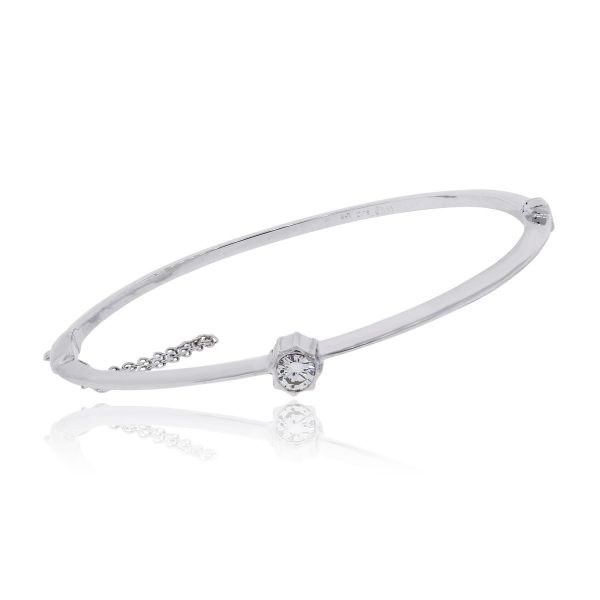 14k White Gold 0.30ct Bezel Set Diamond Bangle
