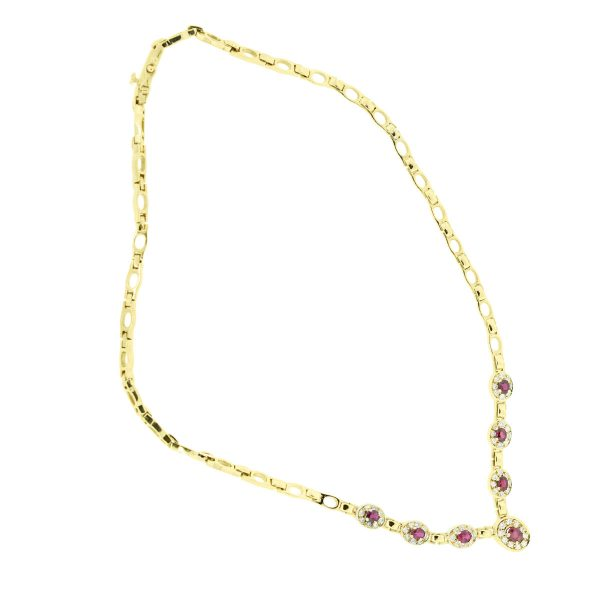 18k Yellow Gold 1.66ctw Diamond and 3ctw Ruby Necklace