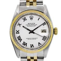 Rolex 1500 Datejust Two Tone White Roman Dial Mens Watch