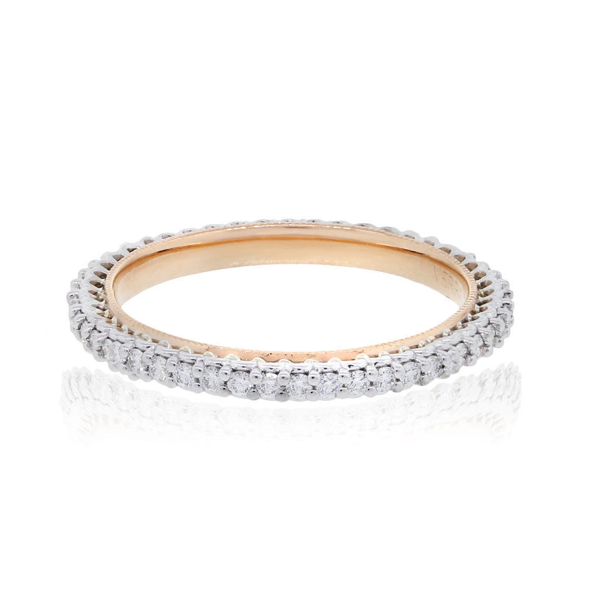 Verragio 18k White And Rose Gold 045ctw Eternity Wedding Band