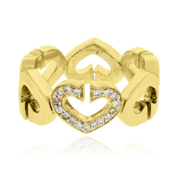 1a309504e1739 Cartier 18k Yellow Gold 0.06ctw Diamond Hearts and Symbols Ring