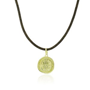 Torrini Firenze 18k Gold Labyrinth Charm On Leather Necklace