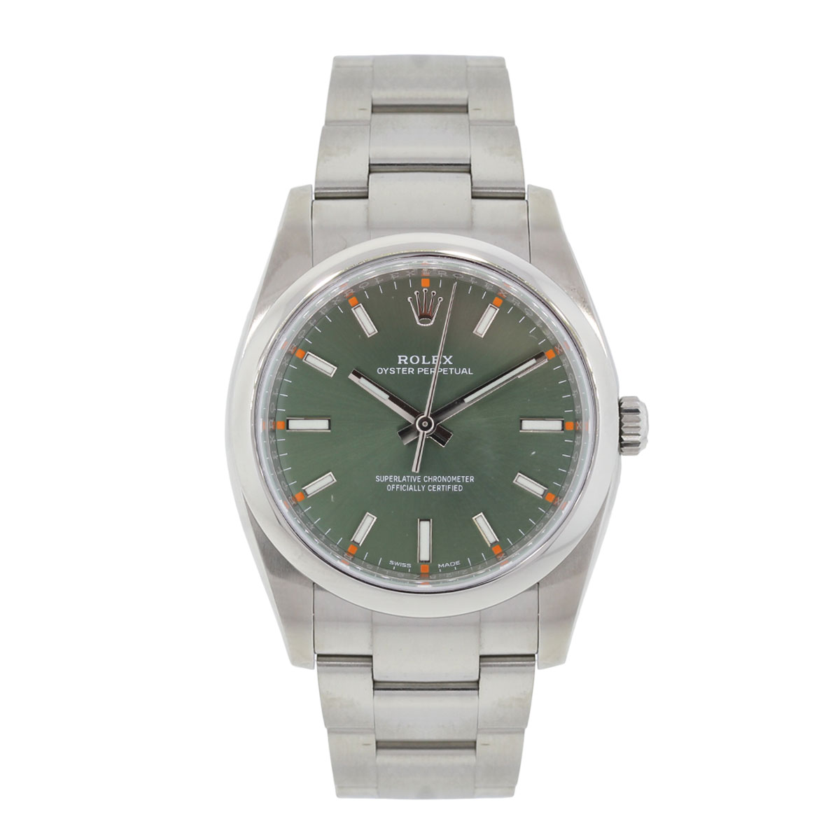 Rolex 114200 Datejust Green Olive Dial Stainless Steel Watch