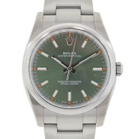 Rolex 114200 Oyster Perpetual Green Olive Dial Stainless Steel Watch