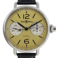 Bell & Ross BRWW1 Stainless Steel Black Leather Watch