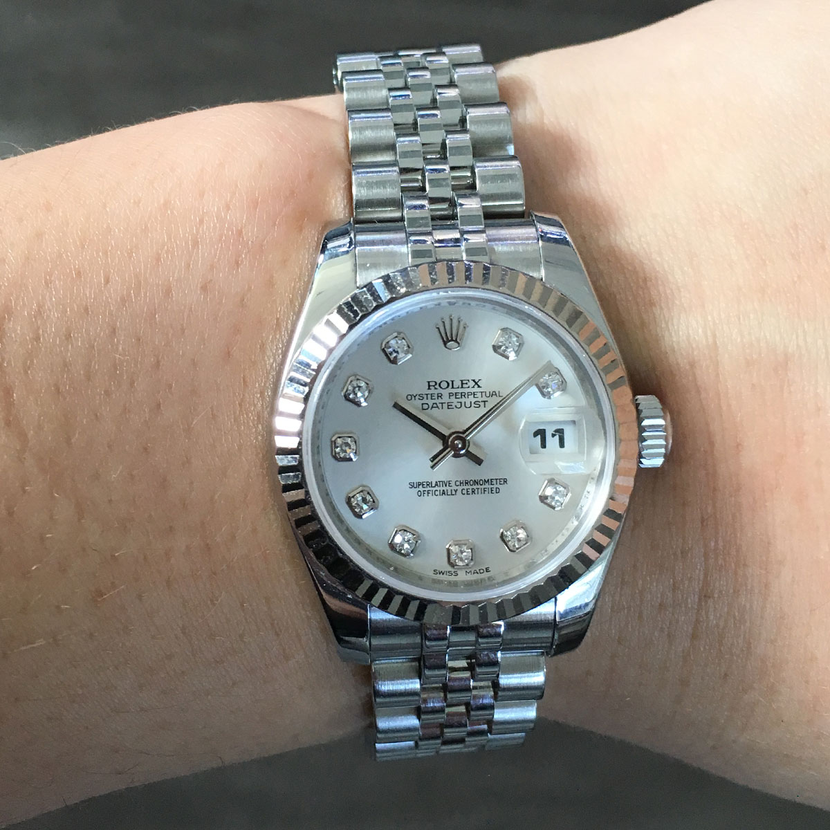 Rolex 179174 datejust stainless steel diamond dial ladies watch for Diamond dial watch