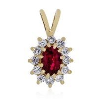 14k Yellow Gold 0.24ctw Diamond Ruby Pendant