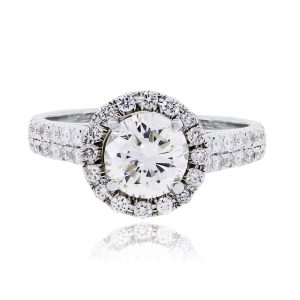 14k White Gold 1.94ctw GIA certified Diamond Halo Engagement Ring