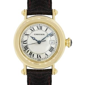 Cartier 1420 Diabolo 18k Gold on Brown Leather Watch