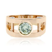 18k Rose Gold 1.87ct Irradiated Green Diamond Gents Ring