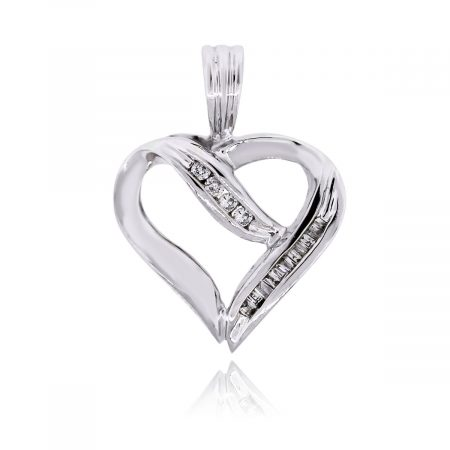 White Gold 0.15ctw Diamond Heart Pendant