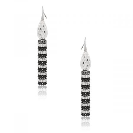 Officina Bernardi Platinum and Black Rhodium Tassel Earrings