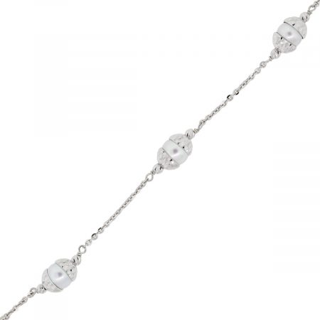 Officina Bernardi Platinum and Pearl Bracelet