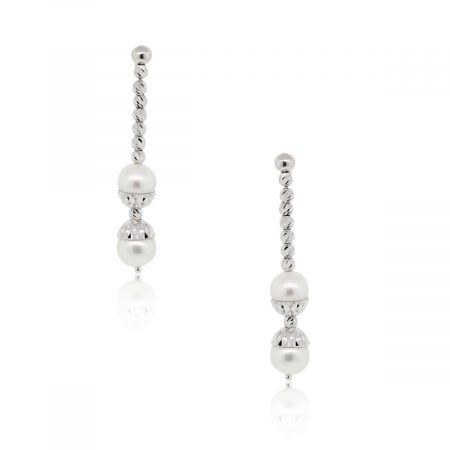 Officina Bernardi Platinum Diamond Cut Pearl Dangle Earrings