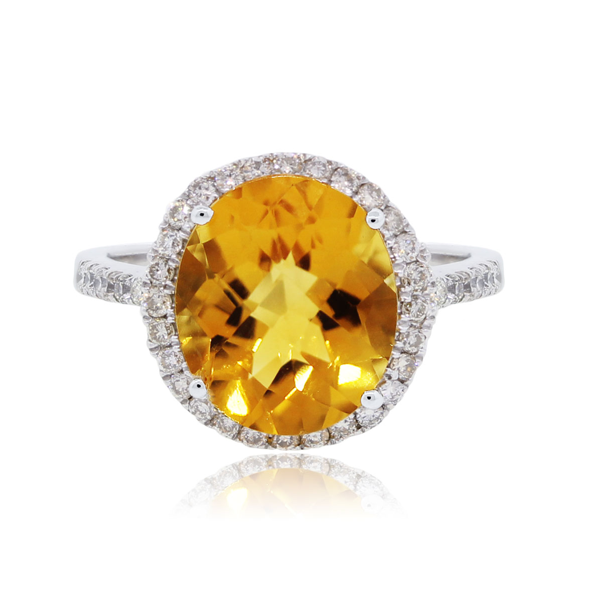 14k White Gold 0.40ctw Diamond Halo and Oval Citrine Ring