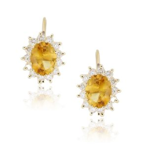 14k Yellow Gold 0.50ctw Diamond and Oval Citrine Earrings