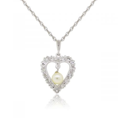 14k White Gold 5mm Pearl and .50ctw Diamond Heart Necklace
