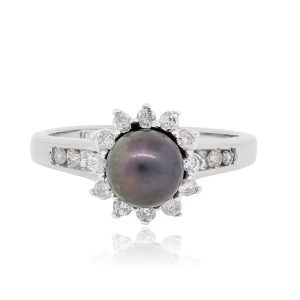White Gold 6mm Tahitian Pearl and Diamond Ring