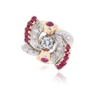 14k Rose Gold 0.55ctw Diamond and 0.65ctw Ruby Art Deco Ring