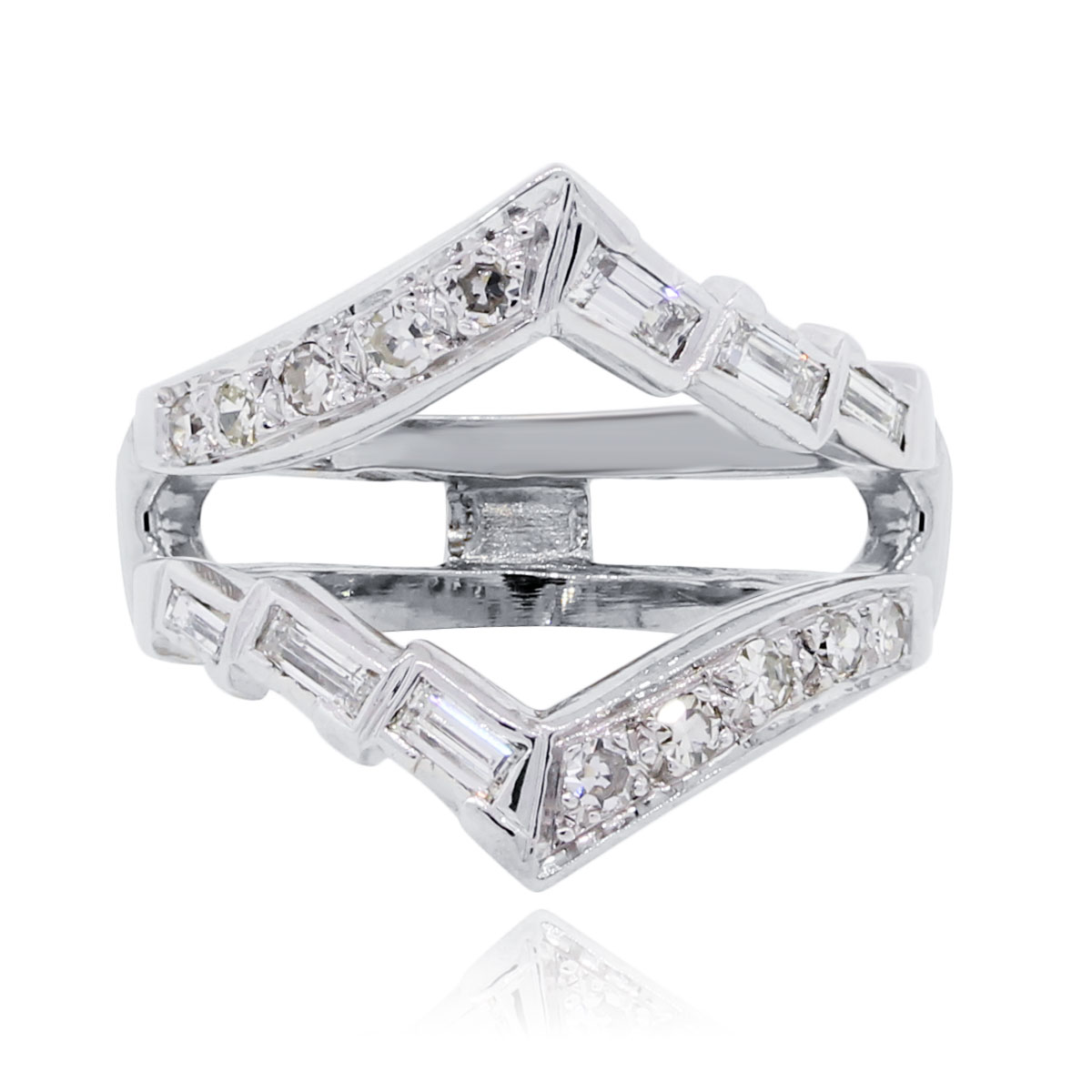 14k White Gold 0.45ctw Baguette Round Brilliant Diamond Ring Guard