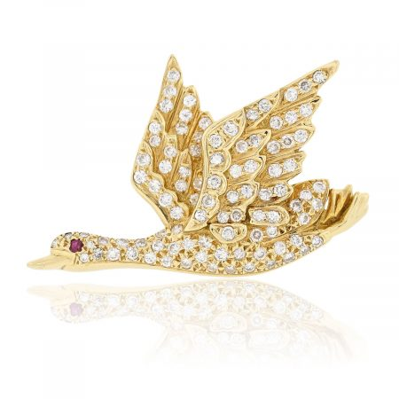 Diamond bird pin