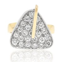 14k Two Tone 0.50ctw Diamond Triangular Ring
