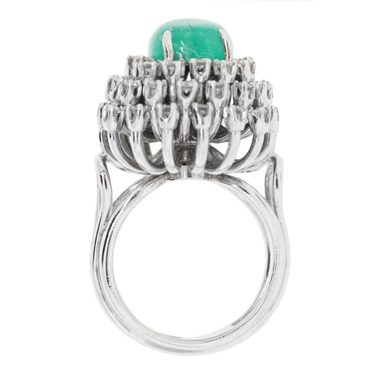 18k white gold cabochon emerald ring raymond jewelers