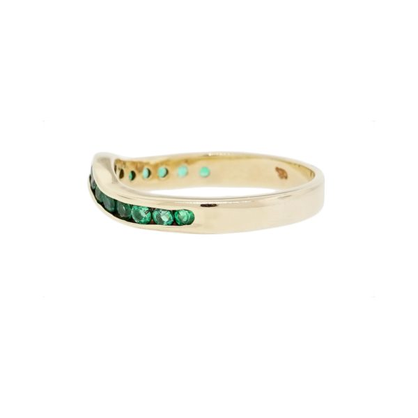 Yellow Gold Emerald Band
