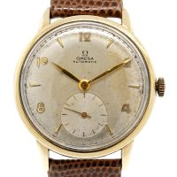 Omega Champagne Dial Automatic Leather Band Watch
