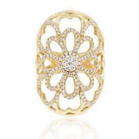 18k Yellow Gold 0.80ctw Wide Floral Diamond Ring