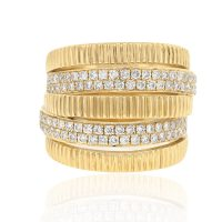 18k Yellow Gold 0.86ctw Diamond Multi Row Band
